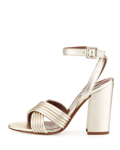 Nora Crisscross Chunky-Heel Sandal, Champagne Gold