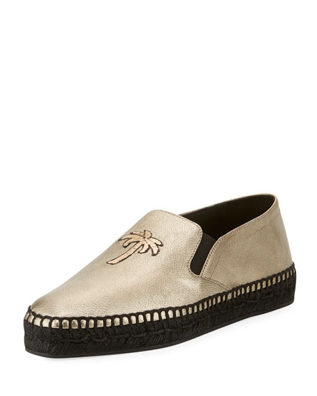 Sporty Metallic Palm Espadrille, Gold