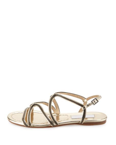 Nickel Chain Strappy Flat Sandal