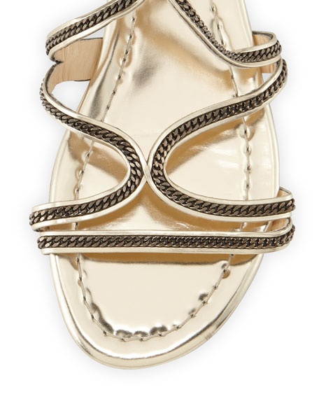 Nickel Chain Strappy Flat Sandal