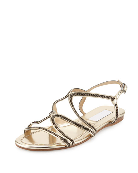 Jimmy Choo Nickel Chain Strappy Flat Sandal
