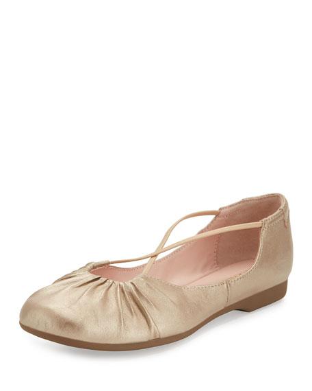 Taryn Rose Bryan Ruched Crisscross Ballerina Flat