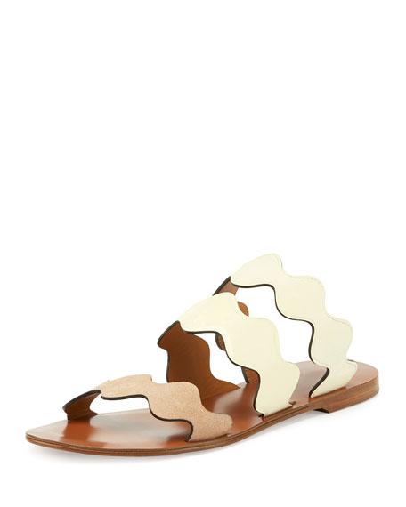 Chloe Scalloped Triple-Strap Flat Slide Sandal, Bambi Dots