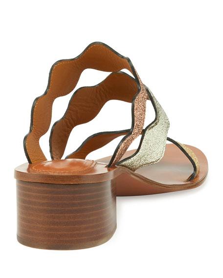 Scalloped Triple-Strap Chunky-Heel Sandal, Multicolor