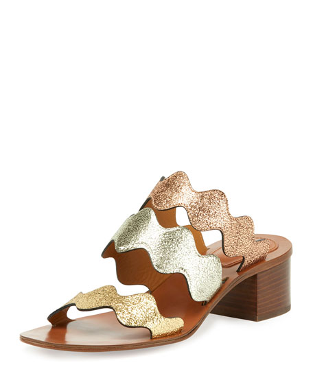 Chloe Scalloped Triple-Strap Chunky-Heel Sandal, Multicolor