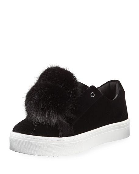 Leya Velvet Pompom Sneaker, Black