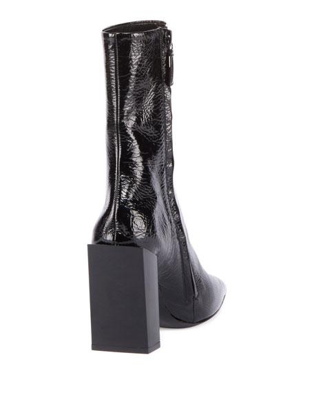 Balenciaga Patent Square-Toe Block-Heel Bootie, Noir