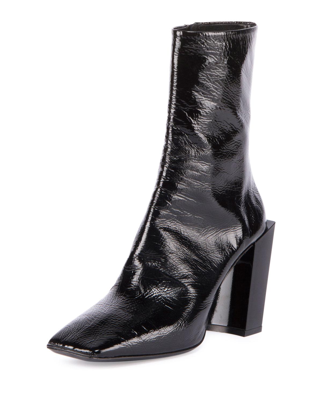 841829bb0a07 Balenciaga Patent Square-Toe Block-Heel Bootie