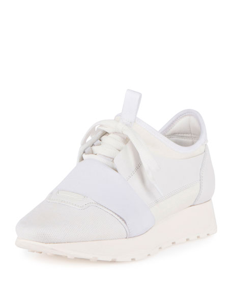 Balenciaga Mixed-Media Leather Lace-Up Sneaker, White