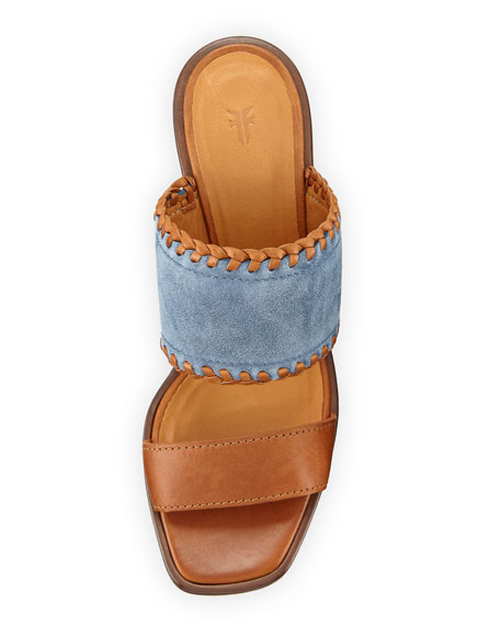 Ashley Suede & Leather Mule Sandal, Blue