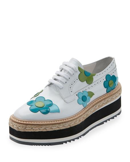 Prada Microsole Floral Platform Espadrille Sneaker, Bianco