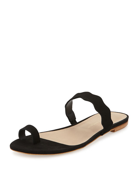 Loeffler Randall Petal Nubuck Scalloped Sandal, Black