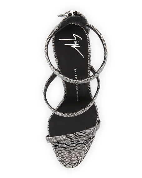 Coline Embossed Triple-Strap 110mm Sandal, Dark Gray