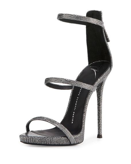 Coline Embossed Triple-Strap 110mm Sandal, Dark Gray
