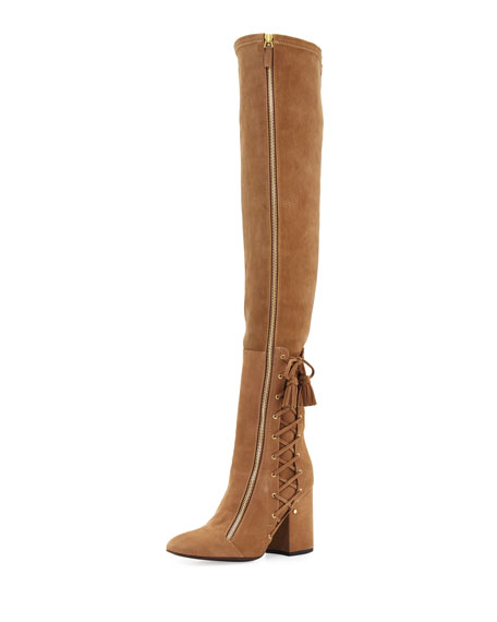 Laurence Dacade Suede Laced-Side Over-the-Knee Boot, Beige