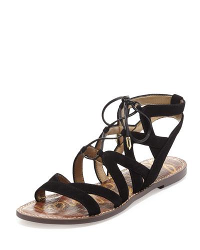 Gemma Suede Flat Lace-Up Sandal