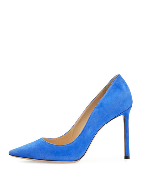 Romy Suede 100mm Pump, Cobalt