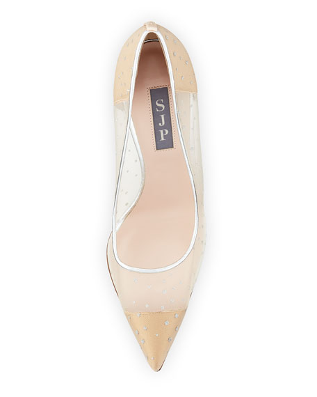 Glass Mesh 100mm Pumps, Beige
