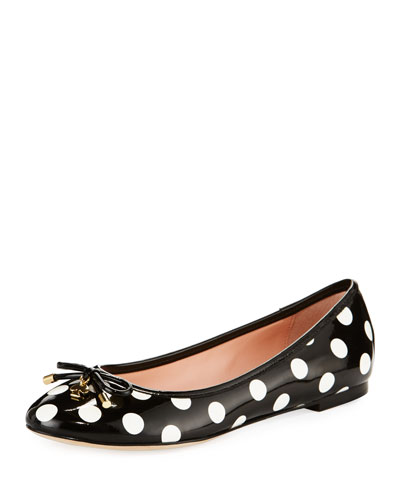 willa polka-dot ballerina flat, black/white