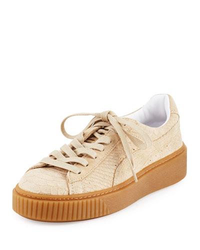 Snake-Embossed Suede Sneaker