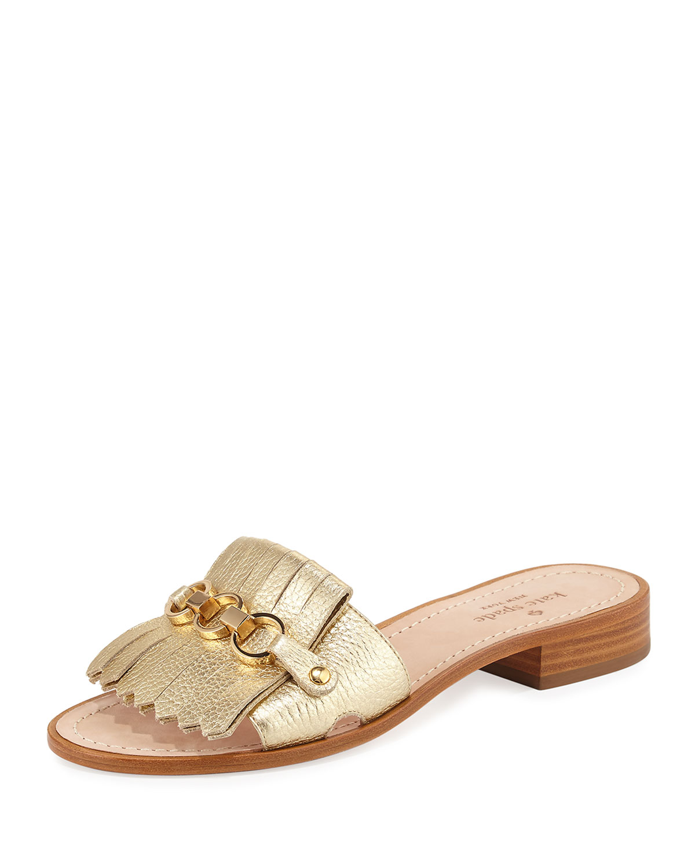 60a834f39 Kate spade new york brie metallic chain flat sandal gold neiman jpg  1200x1500 Kate spade sandals