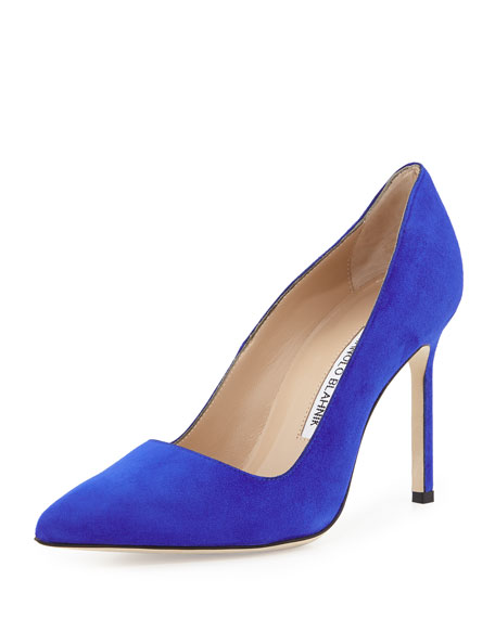 Manolo Blahnik BB Suede 105mm Pumps, Cobalt Blue