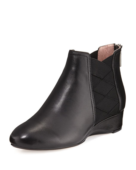 Taryn Rose Folks Leather Demi-Wedge Bootie, Black