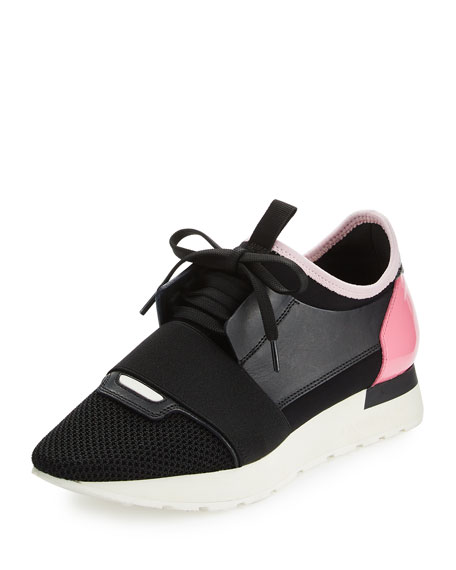 Balenciaga Mixed-Media Leather Lace-Up Sneaker, Black/Pink