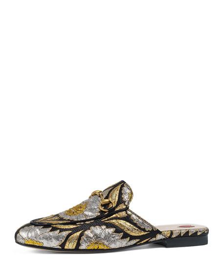 Gucci Princetown Jacquard Horsebit Mule, Gold Print
