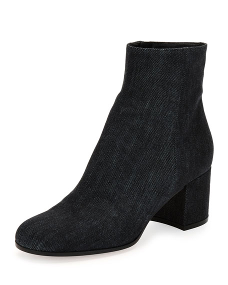 Gianvito Rossi Margaux Denim Block-Heel Bootie
