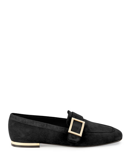 Suede Metal-Buckle Loafer, Black