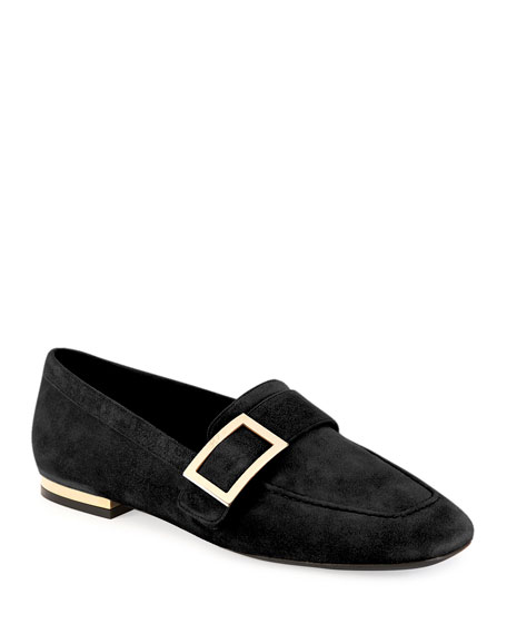 Roger Vivier Suede Metal-Buckle Loafer, Black