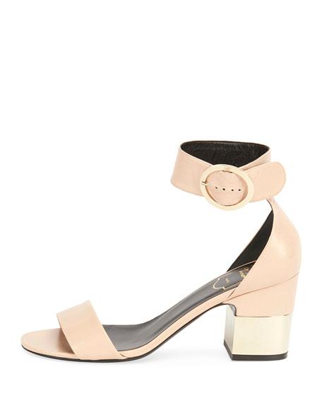 Roger Vivier Podium Leather 70mm Sandal, Beige