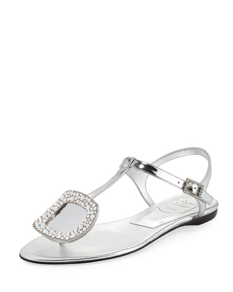Chips Strass Buckle Flat Sandal, Gray