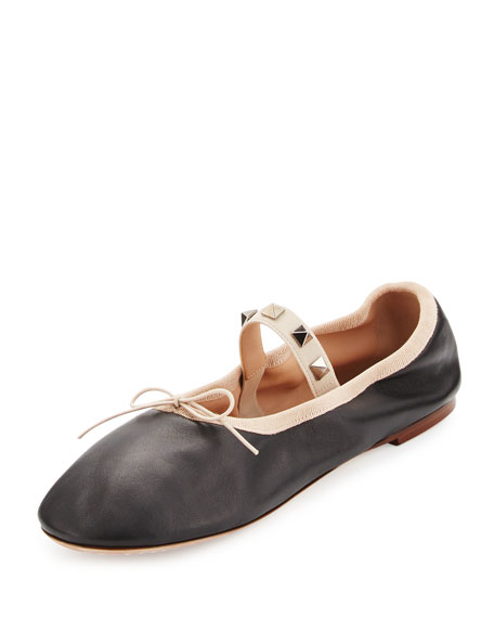 Rockstud Leather Ballet Flat