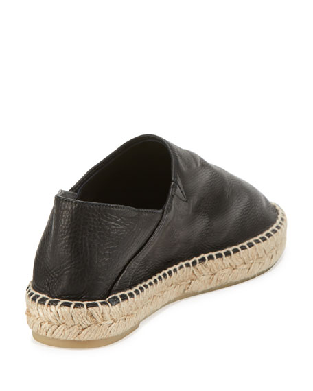 Rachel Leather Espadrille Flat, Black
