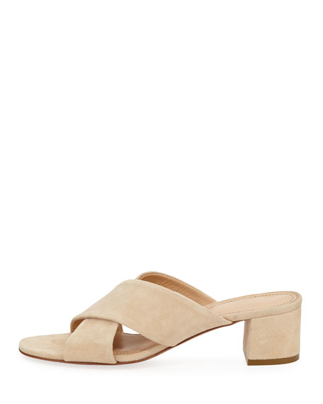 Suede Crisscross 40mm Slide Sandal