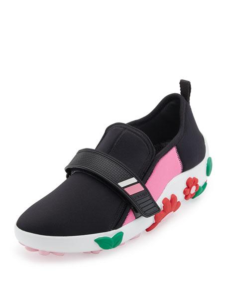 Prada Neoprene Flower-Heel Sneaker, Black/Pink