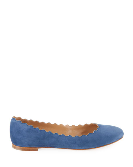 Lauren Scalloped Suede Ballet Flats