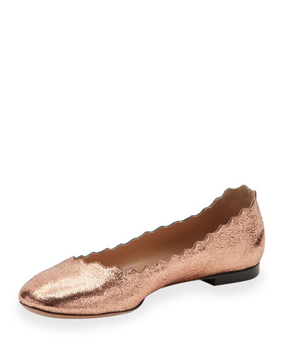 Lauren Scalloped Metallic Leather Ballerina Flat, Rose Gold