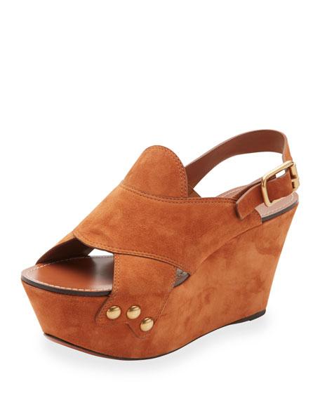 Chloe Suede Slingback Platform Sandal, Ochre