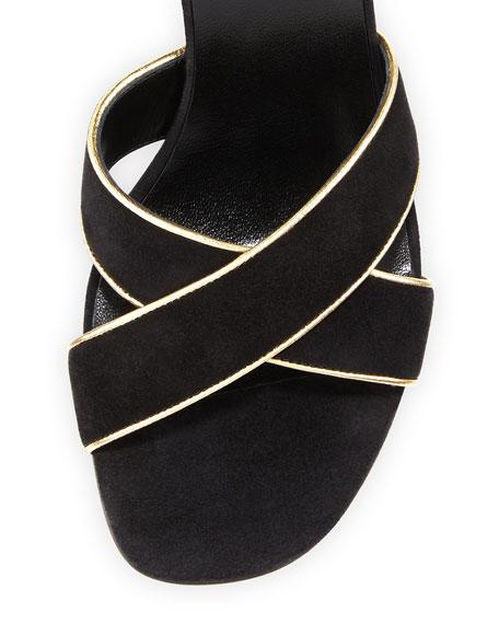 Babies Crisscross 90mm Sandal, Black/Gold