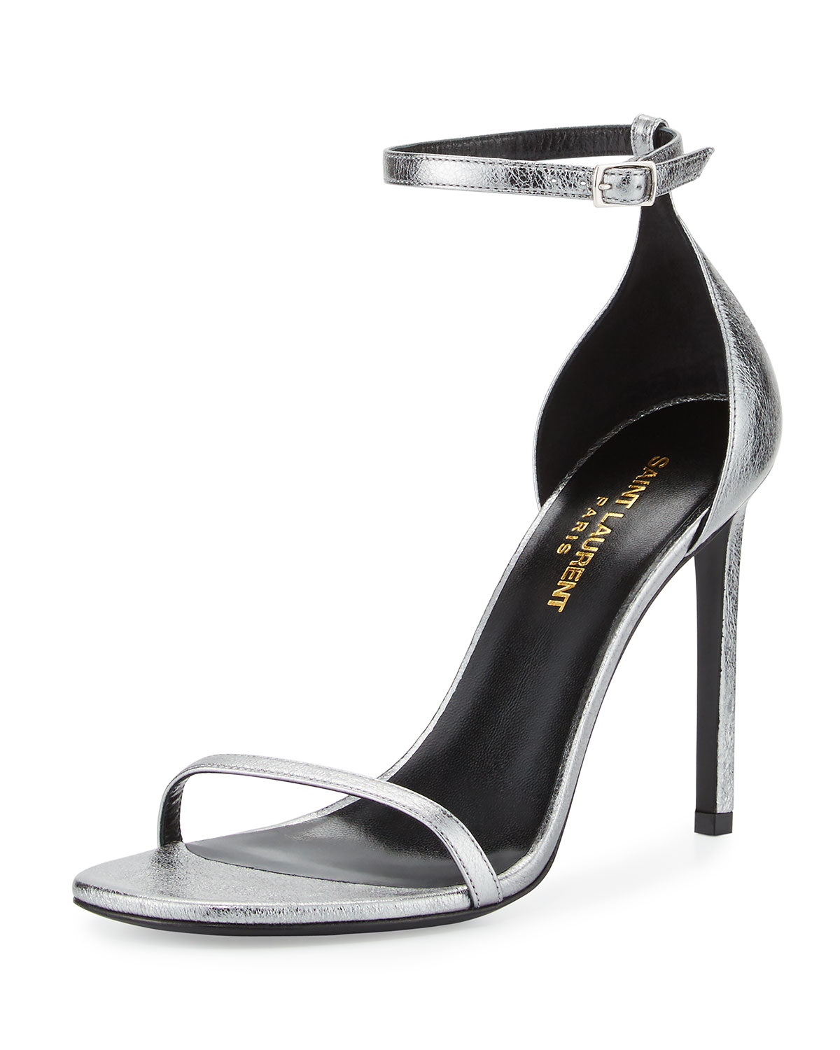 1116f497d50 Saint Laurent Jane Metallic Ankle-Wrap 105mm Sandal