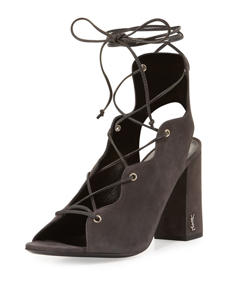 Saint Laurent Babies Suede Lace-Up 90mm Sandal, Gray