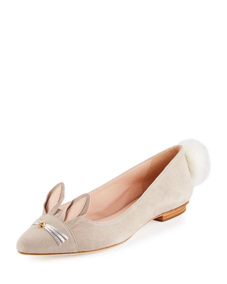 kate spade new york edina suede bunny ballerina