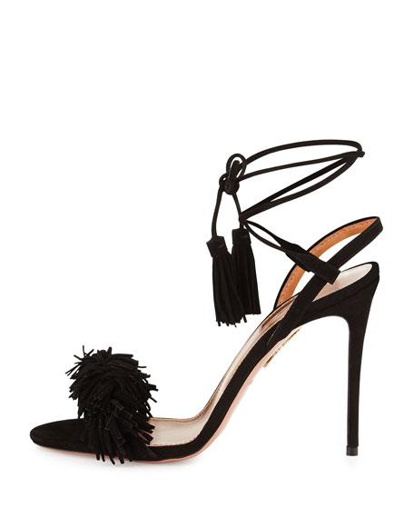 Wild Thing Suede 105mm Sandal, Black