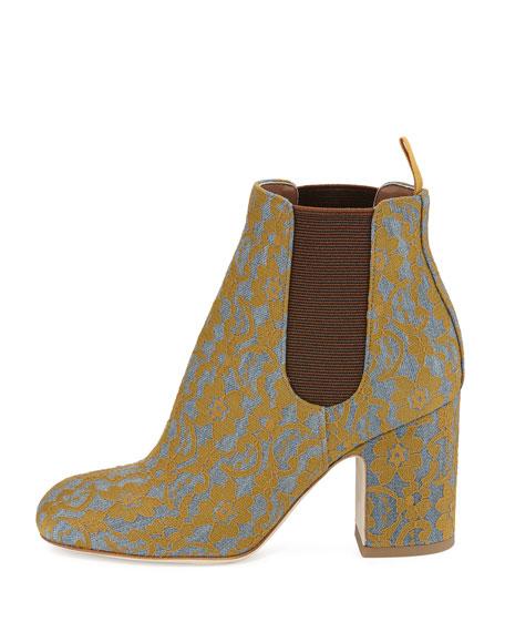 Mia Lace 85mm Chelsea Boot, Gray/Ochre