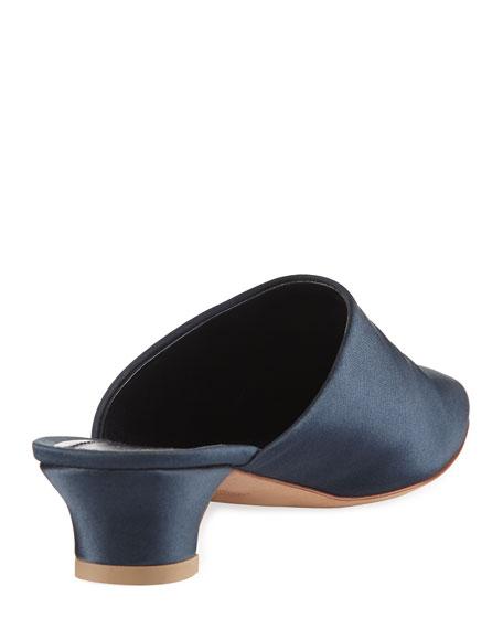 Elegant Silk 40mm Mule Pump, Blue