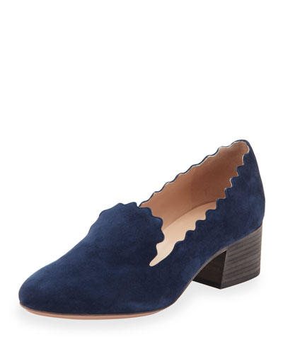 Scalloped Suede 40mm Loafer, Blue Lagoon
