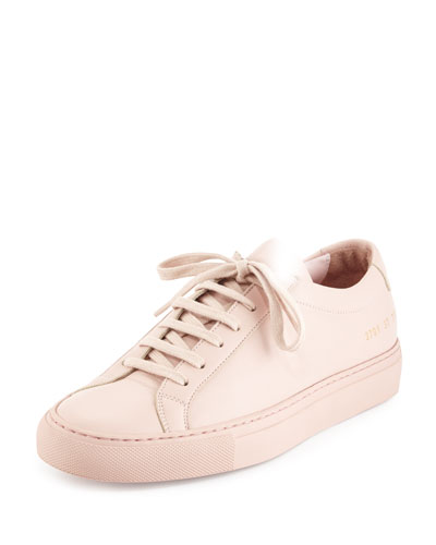 Achilles Leather Low-Top Sneaker, Pink